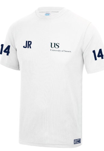 Sussex University Lacrosse White Performance Tee (Sussex Lacrosse On Back Of Tee)