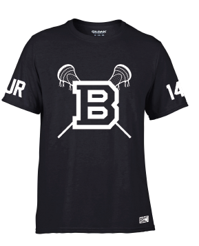 Blues Lacrosse Black Mens Performance Tee (All Print)