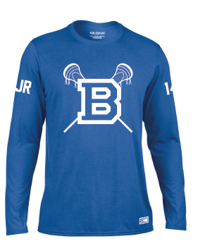 Blues Lacrosse Blue Mens Long Sleeved Performance Tee (All Print)