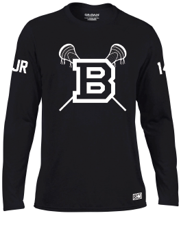 Blues Lacrosse Mens Black Long Sleeved Performance Tee (All Print)