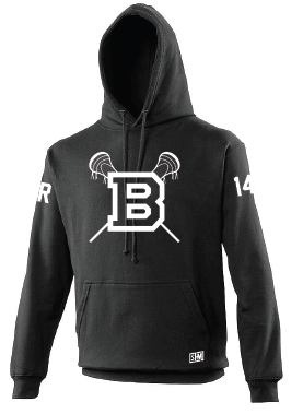 Blues Lacrosse Black Mens Hoody (All Print)