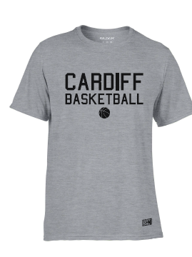 Cardiff City Basketball Sport Grey Mens Performance Tee