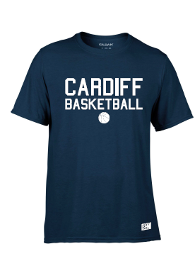 Cardiff City Basketball Navy Womens Performance Tee