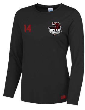 UCLan Lacrosse Black Womens Long Sleeved Performance Tee