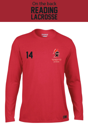 Reading Uni Lacrosse Red Mens Performance Long Sleeved Tee