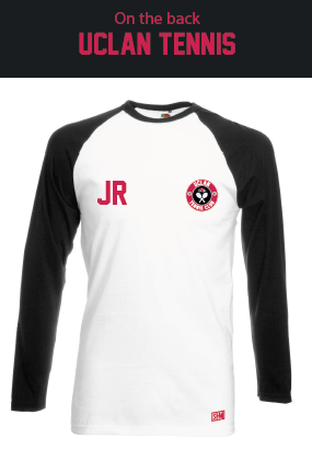 Uclan Tennis White/Black Unisex Long Sleeved Cotton Tee