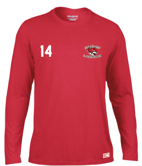 Reading Wildcats Mens Red Long Sleeved Performance Tee