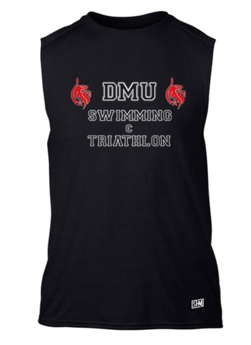 DMU Swim & Tri Black Unisex Performance Sleeveless Vest