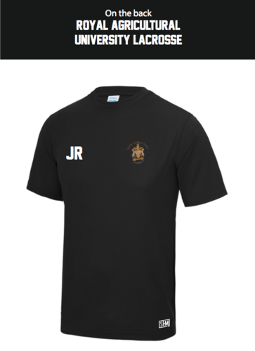 Royal Agricultural Lacrosse Black Mens Performance Tee (Lacrosse Under Logo)