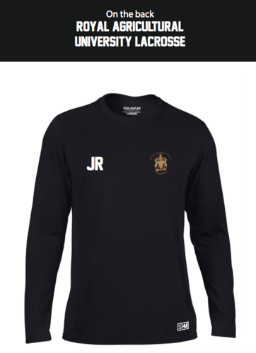 Royal Agricultural Lacrosse Black Mens Long Sleeved Performance Tee (Lacrosse Under Logo)