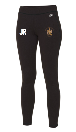 Royal Agricultural Lacrosse Black Womens Leggings (Lacrosse Under Logo)