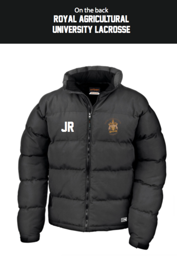 Royal Agricultural Lacrosse Mens Black Puffa (Lacrosse Under Logo)