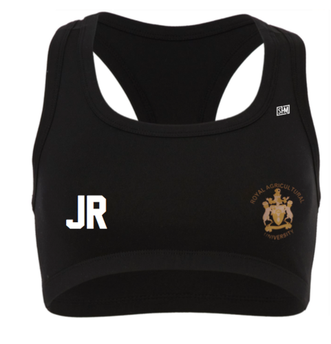 Royal Agricultural Lacrosse Black Womens Sports Bra (Lacrosse Under Logo)