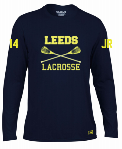 Leeds Lacrosse Womens Navy Long Sleeved Performance Tee