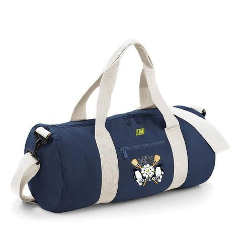 Leeds Lacrosse Navy & White Barrel Bag