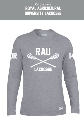Royal Agricultural Lacrosse Grey Mens Performance Long Sleeved Tee (Big Logo)