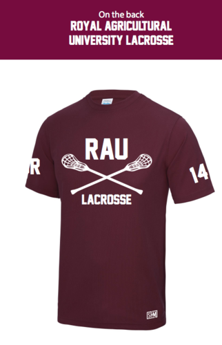 Royal Agricultural Lacrosse Maroon Mens Performance Tee (Big Logo)