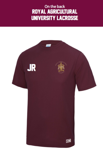 Royal Agricultural Lacrosse Maroon Womens Performance Tee (Small Logo) (Lacrosse Under Logo)