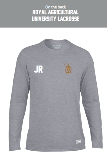 Royal Agricultural Lacrosse Grey Mens Performance Long Sleeved Tee (Lacrosse Under Logo)