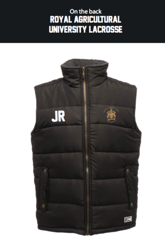 Royal Agricultural Lacrosse Black Womens Gilet (Lacrosse Under Logo)