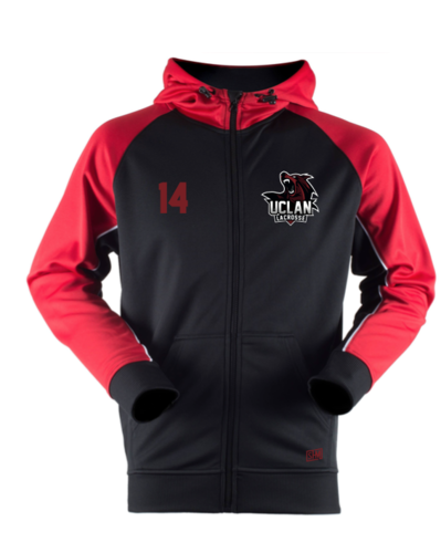 UClan Lacrosse Black & Red Panelled Unisex Hoody