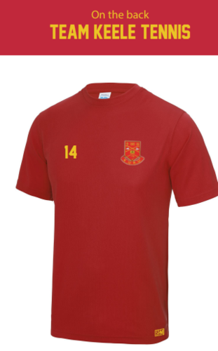 Keele Tennis Red Mens Performance Tee
