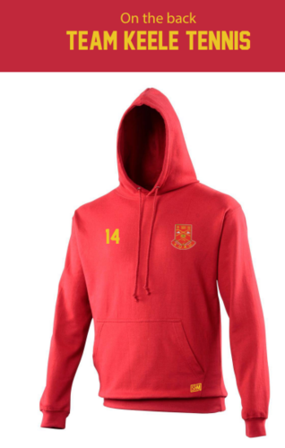 Keele Tennis Red Mens Hoody