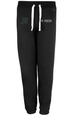 Stirling Netball Black Womens Sweatpants (Text in White, Logo In White & AU Logo Under Initial)