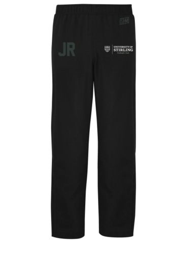 Stirling Netball Womens Black Trackies (White Logo, White Text, AU Logo below initial)