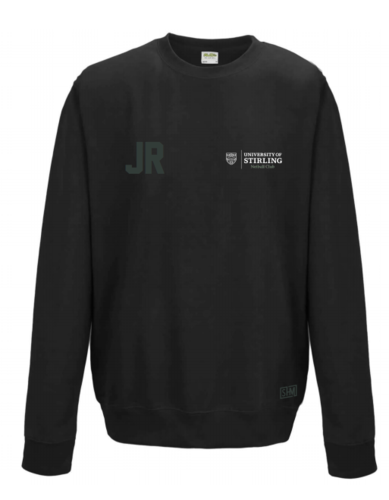 Stirling Netball Black Womens Sweatshirt (Text In White, Logo In White, AU Logo On Lower Back)