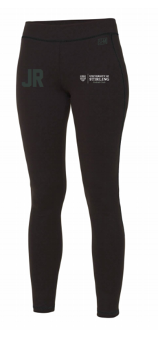 Stirling Netball Black Womens Leggings (Logo White, Text White, AU Logo Underneath Initials)