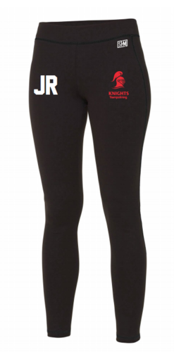 Reading Tramp Black Womens Leggings (Red Text, Trampolining Down Leg Reading Top To Bottom)