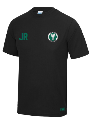 Stirling Badminton Black Mens Performance Tee (With AU Logo)