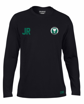 Stirling Badminton Black Mens Long Sleeved Performance Tee (With AU Logo)
