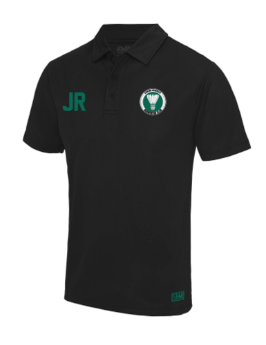 Stirling Badminton Black Mens Performance Polo (With AU Logo)