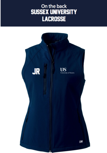 Sussex University Lacrosse Navy Gilet Softshell