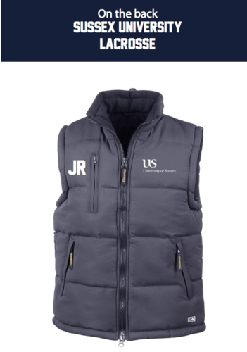 Sussex University Lacrosse Navy Gilet Puffa