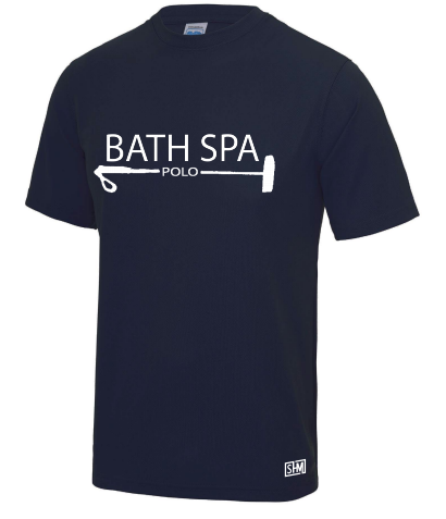 Bath Spa Polo Mens Navy Performance Tee