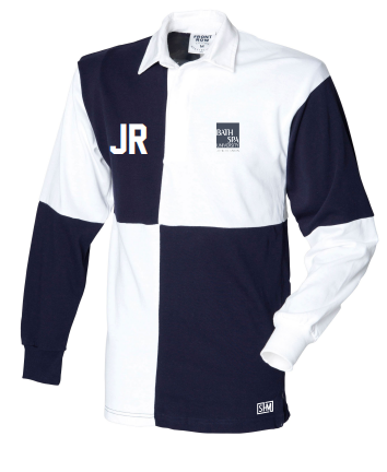 Bath Polo Unisex Navy & White Long Sleeved Quartered Polo (Committee Position On Top Back In Navy)