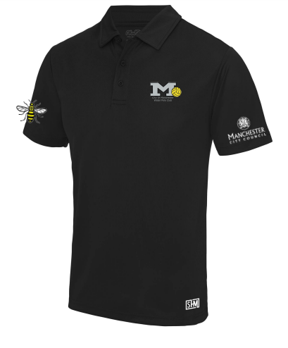 Manchester Water Polo Black Mens Performance Polo (All Embroidery)