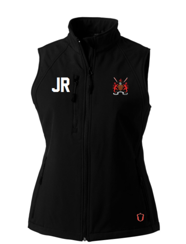 Hartpury Rowing Black Womens Softshell Gilet (Logo Embroidery, Everything Else Print)