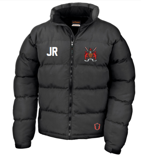 Hartpury Rowing Black Mens Puffa (Logo Embroidery, Everything Else Print)
