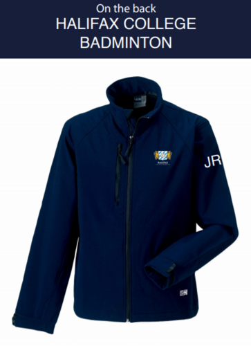 Halifax Badminton Navy Mens Softshell Jacket (Logo Embroidery, Everything Else Print)