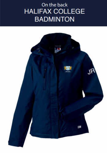 Halifax Badminton Navy Womens Hydroplus Hooded Jacket (Logo Embroidery, Everything Else Print)