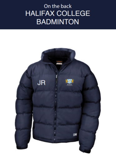 Halifax Badminton Navy Mens Puffa (Embroidery Logo, Everything Else Print)