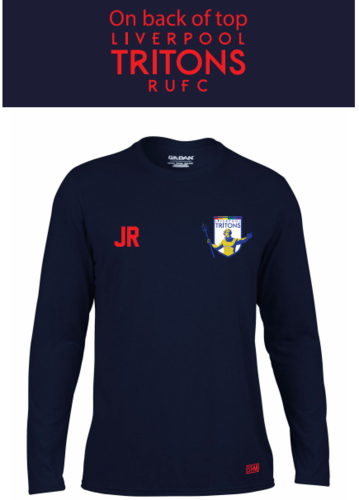 Tritons Rugby Navy Mens Long Sleeved Performance Tee (All Print)