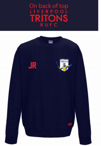 Tritons Rugby Navy Unisex Sweatshirt (Logo Embroidery, Everything Else Print)