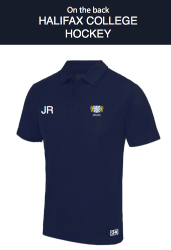 Halifax Hockey Navy Womens Performance Polo (Logo Embroidery, Everything Else Print)