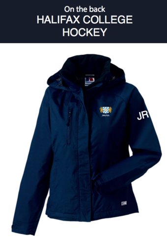 Halifax Hockey Navy Womens Hydroplus Hooded Jacket (Logo Embroidery, Everything Else Print)