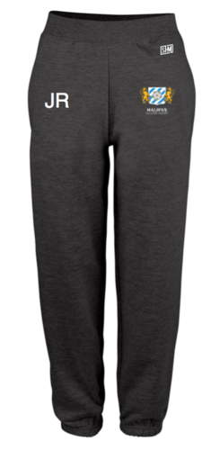 Halifax Hockey Black Womens Sweatpants (Logo Embroidery, Everything Else Print)